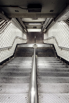 Subway station steps - p1280m1105169 by Dave Wall