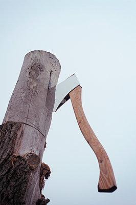 Chopping wood - p992m1057139 by Carmen Spitznagel