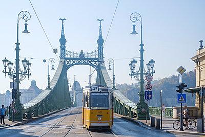 Tramcar on Freedom Bridge, Budapest, Hungary - p1600m2184171 by Ole Spata