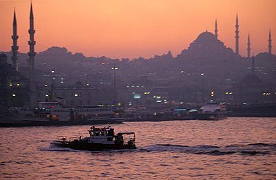 Sunset on the Bosphorus, port of Istanbul - p3490199 by Desmond Burdon