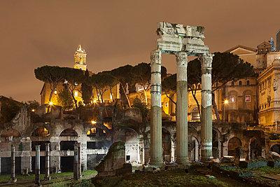 Roman Forum lit up at night - p42917761 by Alex Holland
