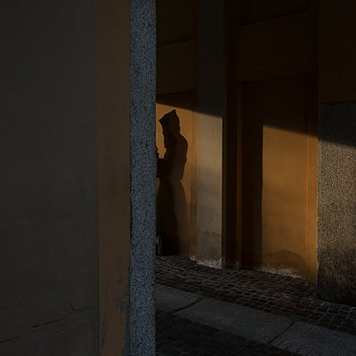 Italy, Piacenza, Silhouette of a monk - p1624m2222648 by Gabriela Torres Ruiz