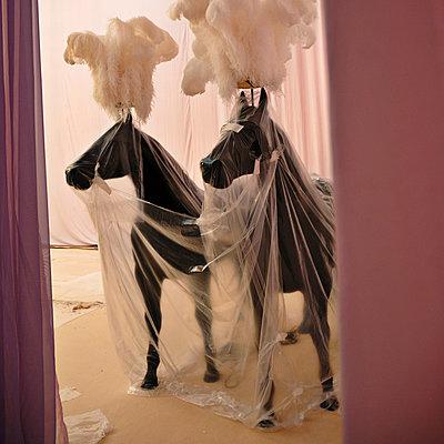 Theme park, artificial horses under tarpaulin, Bahrain - p1542m2142335 by Roger Grasas