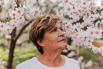 Senior woman looking at white flowers on tree - p300m2281476 by PICUA ESTUDIO