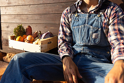 Young farmer with crate full of vegetables against wood wall on sunny day - p300m2243740 by Sus Pons