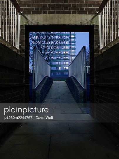 Underpass, footbridge and a block of flats, Sheffield  - p1280m2244767 by Dave Wall