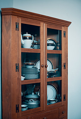 Wooden Cabinet of Fine China - p1617m2223543 by Barb McKinney