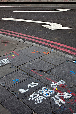 Markings on pavement and road - p388m701614 by Ulrike Leyens
