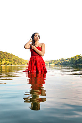 Woman in Potomac River - p1019m2111193 by Stephen Carroll