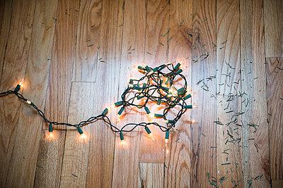 String lights on floor with Christmas tree pine needles - p555m1231857 by JGI/Jamie Grill