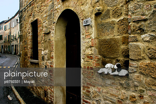 Gasse und Plueschhunde - p9792331 von Mayall