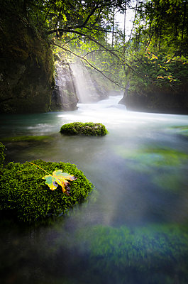 Austria, Hallstatt, natural brook, waterfall, sunlight - p300m1568417 von Spotcatch