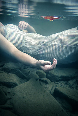 Ophelia - Drowned Girl in Creek - p1019m2100421 by Stephen Carroll