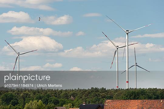 Weißstorch über Windpark - p1079m1184974 von Ulrich Mertens