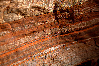Detail of natural patterns in stone, Karijini National Park, Newman, Western Australia, Australia - p301m744166f by Tobias Titz