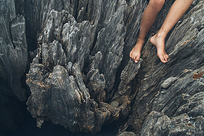 Feet and Aged Wood Detail - p1262m1063985 by Maryanne Gobble