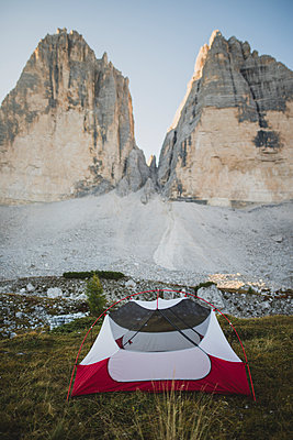 Italy, South Tirol, Sexten Dolomites, Tre Cime di Lavaredo, Tent in front of rock formations - p1427m2213583 by Oleksii Karamanov