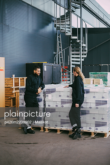 Female and male professional standing by packages at warehouse - p426m2238902 by Maskot