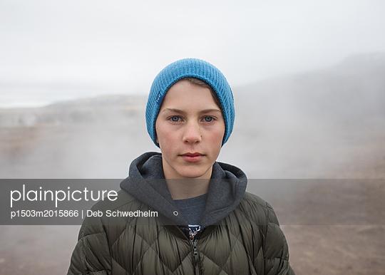 Boy in Blue Hat - p1503m2015866 by Deb Schwedhelm