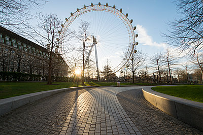 London Eye millennium ferris wheel and empty paths in a park at sunset - p429m2202360 by Ben Pipe Photography