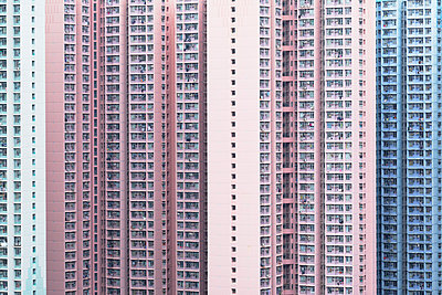 Apartment blocks, Hong Kong - p651m2152249 by Ian Trower