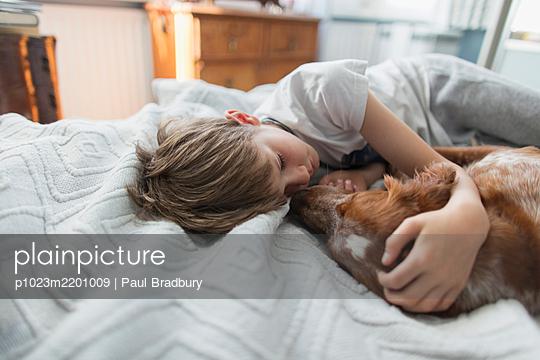 Cute boy cuddling dog on bed - p1023m2201009 by Paul Bradbury