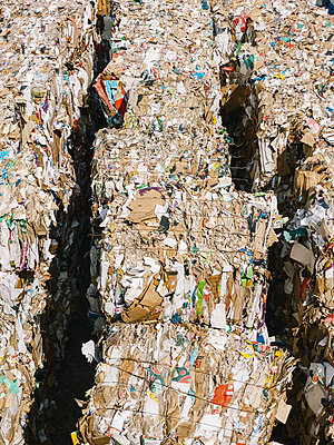 Bundles of recycled paper at recycling center - p301m2213646 by Norman Posselt