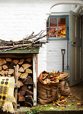 Kindling and firewood with sacks of leaves at woodshed;   Isle of Wight;  UK - p349m920056 by Rachel Whiting