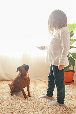 Little girl training her dog to sit at home - p300m1356153 by Retales Botijero