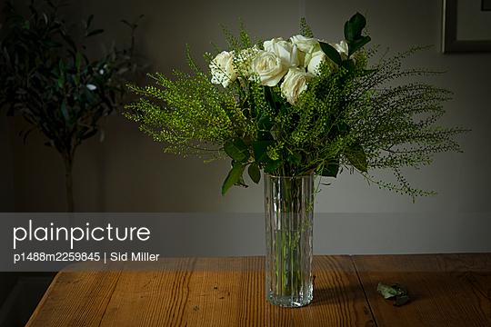 White roses in flower vase - p1488m2259845 by Sid Miller