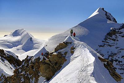 "Mountaineers climbing sharp ridge of ""crossing of Liskamm"", (traversata dei Lyskamm) Monte Rosa, Ayas Valley, Aosta Valley, Italy - p651m2006710 by ClickAlps"