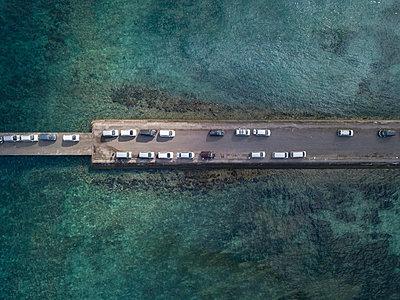 Aerial view, Parking cars on Nusa Penida - p1108m2090350 by trubavin