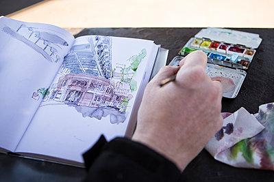 Urban Sketcher - Zeichner - p1222m1104780 von Jérome Gerull