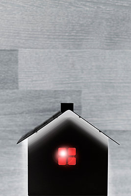 Illuminated model house, collage - p975m2287889 by Hayden Verry