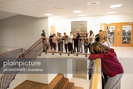 Children on school corridor - p312m2190976 by Scandinav
