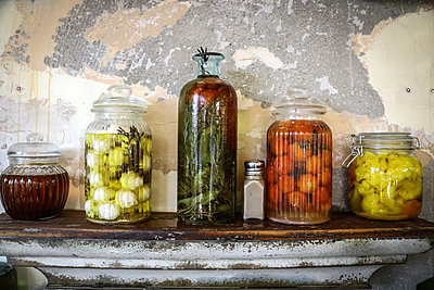 Still Life Jars on Shelf - p1019m1467949 by Stephen Carroll