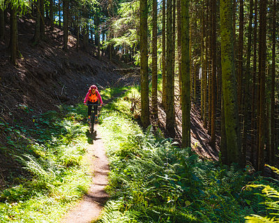 Woman cycling through forest - p312m1471350 by Mikael Svensson