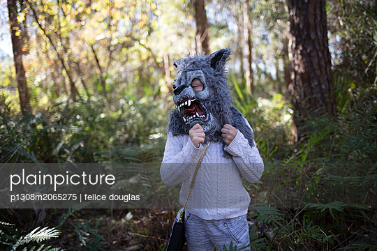 Animal mask in the woods - p1308m2065275 by felice douglas