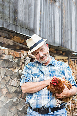Smiling farmer on organic farm holding chicken - p300m997986f by Milton Brown