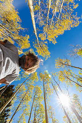 looking up at young boy wearing COVID mask with autumn aspens above - p1100m2220347 by Mint Images