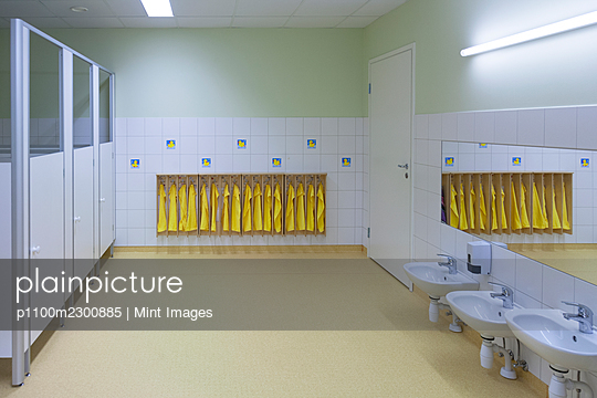 Modern day care nursery or pre-school kindergarten, spacious interiors, washroom and storage - p1100m2300885 by Mint Images