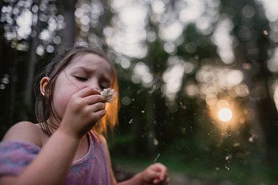 Playful girl blowing dandelion on field - p1166m1534195 by Cavan Images