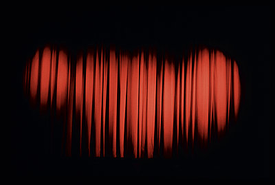 Red cinema curtain - p1047m987409 by Sally Mundy