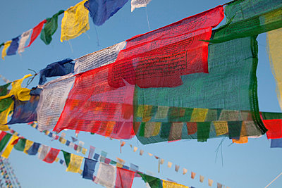 Kathmandu, Prayer flags of Boudinath Stupa one of the holiest Buddhist sites in Kathmandu - p6521230 by Mark Hannaford