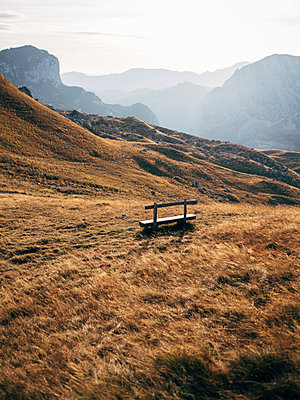 Single bench, Durmitor National Park, Montenegro - p1600m2184165 by Ole Spata