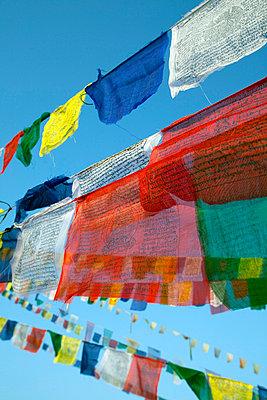 Kathmandu, Prayer flags of Boudinath Stupa one of the holiest Buddhist sites in Kathmandu - p6521231 by Mark Hannaford