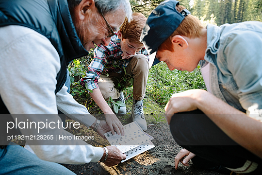 Grandfather and grandsons looking at trail guide in woods - p1192m2129265 by Hero Images