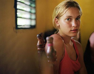 portrait of blonde teenage girl - p3160115f by BreBa photography