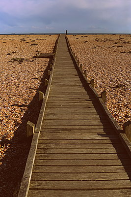 Boardwalk on beach - p1063m1134992 by Ekaterina Vasilyeva