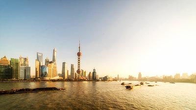 Shanghai Skyline Morning - p1154m2022419 by Tom Hogan